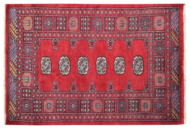 100% Wool Bokara Elephant Feet Design Hand Knotted Oriental Rug Sh15118 traditional-rugs