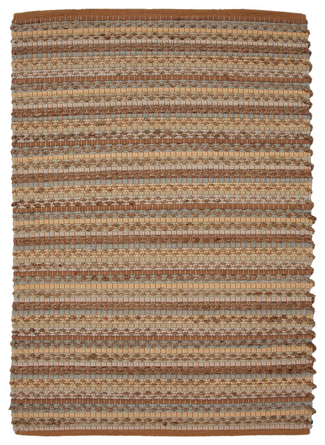"""Natural Stripe Pattern Jute/Cotton Multi Color Woven Rug - CM09, 24""""x40"""" traditional-rugs"""