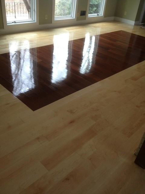 Floors sand with stain and natural