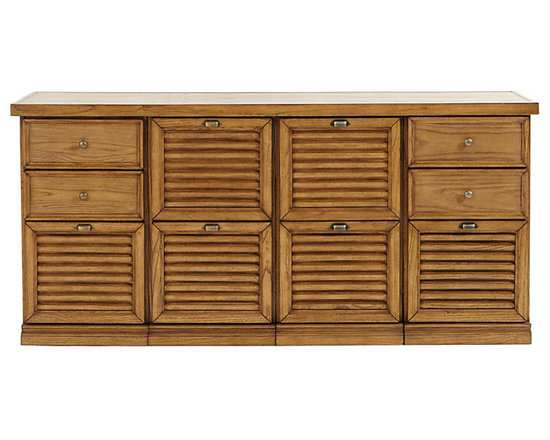 Ballard Designs - Sommerville 4-Cabinet Credenza - Crafted hardwood & fine oak veneers. Warm Oak finish. Holds Legal or Letter size files. Full extension glides. Antique Brass hardware. Airy louvered drawers give our modular Somerville Office Collection a casual Friday feel. Choose from 2 - Drawer File Cabinets or 3 - Drawer File Cabinets. Mix and match to create a custom console to fit your work and storage needs. 4-Cabinet Credenza features: . . . . .