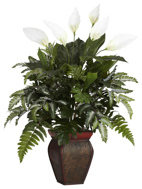 Mixed greens with spathyfillum decorative vase silk for Modern indoor plants