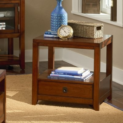 Steve Silver Arcadia Rectangular Cherry Wood End Table modern-side-tables-and-end-tables