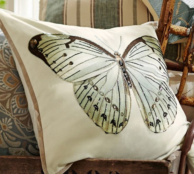 Embroidered Throw Pillows Pottery Barn : Luxe Butterfly Embroidered Pillow Cover - Contemporary ...