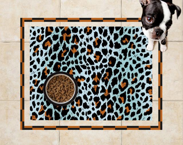 Sniff It Out Pet Mats Polka Dot Pet Food Mat White Modern