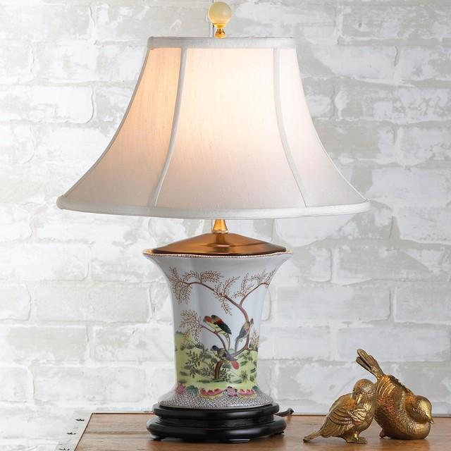 Parrots In Tree Oriental Porcelain Mini Table Lamp Lamp