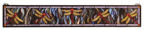 6.5 Inch H x 40.5 Inch W Flight of The Dragonfly Windows modern-stained-glass-panels