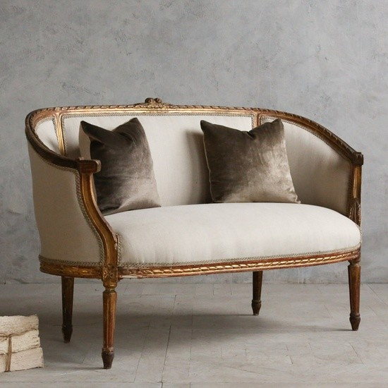 Classic vintage louis xvi style canape settee mediterranean loveseats l - Canape style vintage ...