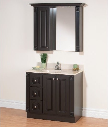 Magickwoods Dark Chocolate Premiere 37-in. Single Bathroom Vanity Set with Grani traditional-bathroom-vanities-and-sink-consoles