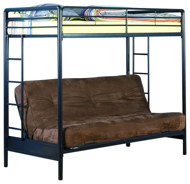 dhp twin over futon bunk bed in black transitional