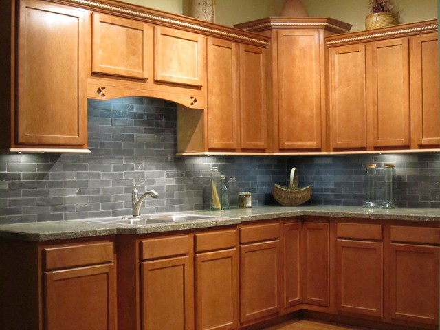 Spice Maple Kitchen Cabinet With Subway Tile