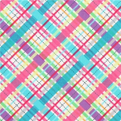 white plaid pattern fabric purple Michael Miller fabric