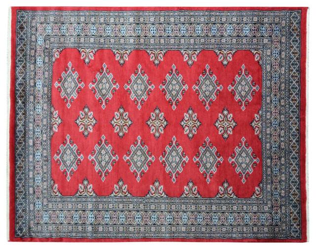 Red Bokara Jaldar Design Hand Knotted 100% Wool Oriental Rug Sh15114 traditional-area-rugs