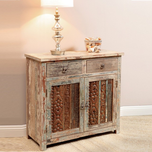 Vintage Wood Block Small Sideboard - Eclectic - Buffets And Sideboards - new york - by Zin Home