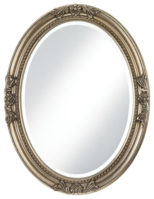 Traditional Emma Antique Silver Finish Oval Wall Mirror