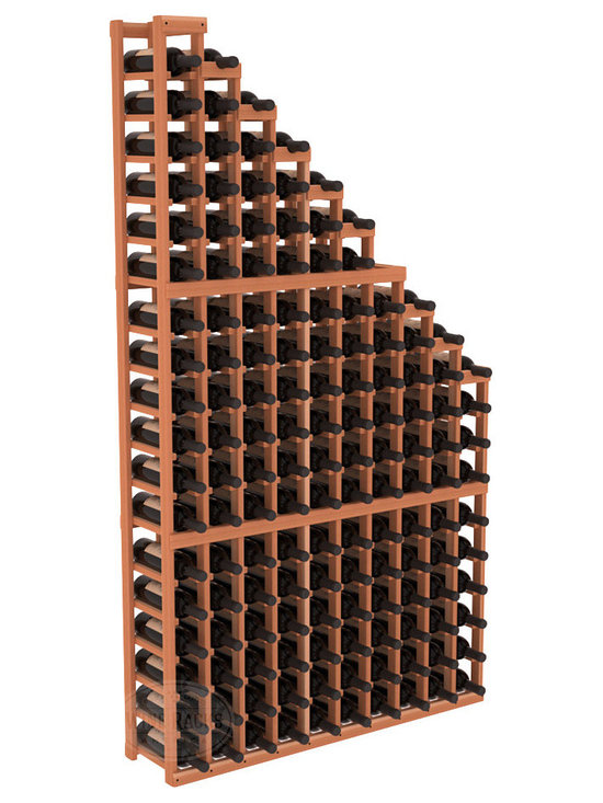 Wine Cellar Waterfall Display Kit in Redwood - A beautiful cascading waterfall of wine bottle displays. Create a spectacle of 9 of your favorite vintages. Designed within our modular specifications and to Wine Racks America's superior product standards, you'll be satisfied. We guarantee it.