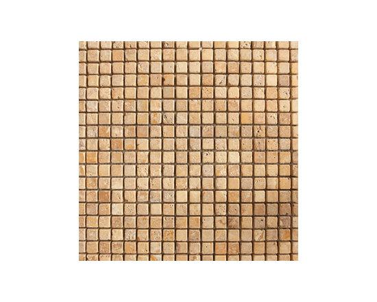 "1.5""x1.5"" Golden Travertine Tumbled Natural Stone Mosaic -"