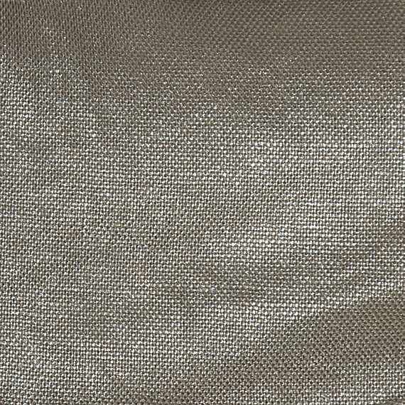 Metallic Silver Coated Taupe Linen Fabric Contemporary