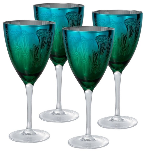 Artland Inc. Peacock Wine Glasses - Set of 4 modern-everyday-glassware