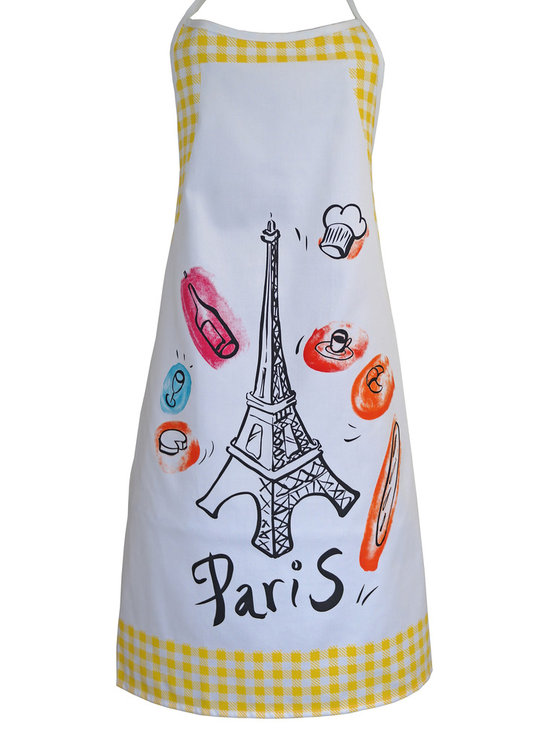 Provence Imports - Paris Bistro Cotton Apron - Yellow - This fun apron includes the main aspects of proper French life: baguette, cheese, croissant, espresso, wine bottle, wine glass, chef hat and -- of course -- the Eiffel tower! Printed in vibrant colors on soft cotton with a yellow bistro check border, it is ready for work.