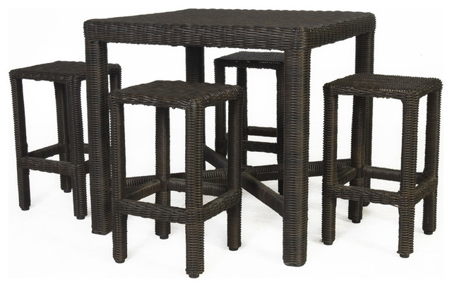Barossa High Dining Set Of 5 Tropical Outdoor Pub And Bistro Sets By Allstate Home Leisure