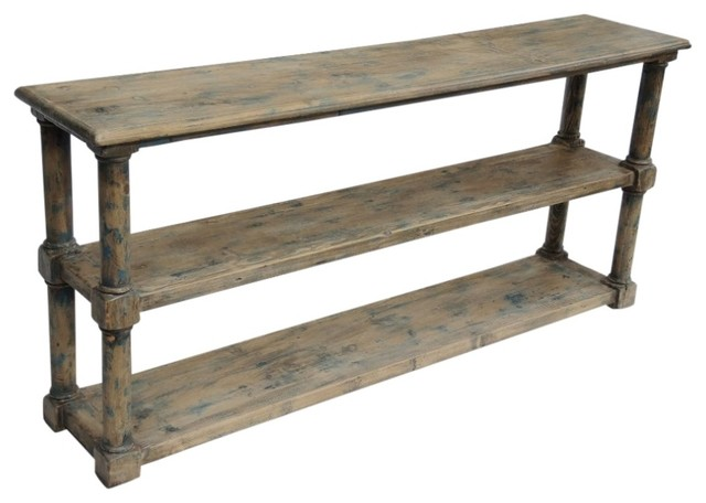 Reclaimed Wood Painted Console Shelf - Beach Style - Console Tables - by Terra Nova Designs, Inc.