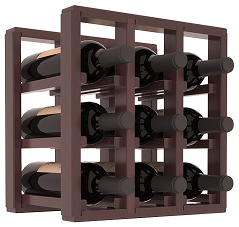9 Bottle Counter Top/Pantry Wine Rack in Redwood, Walnut Stain + Satin Finish contemporary-wine-racks