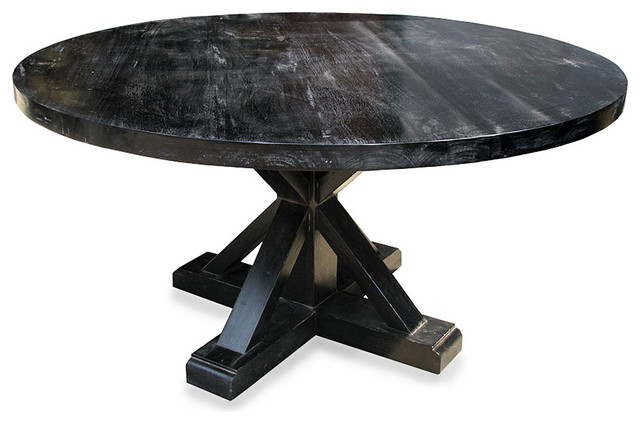 Criss cross round table hand rubbed black transitional for Table quiz rounds