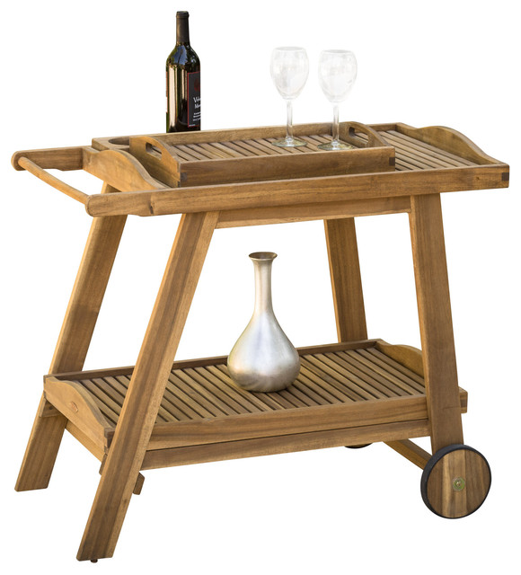Wooden Patio Serving Carts ~ Pinole outdoor bar cart natural stained wood