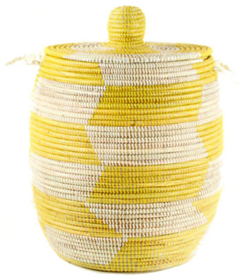 Handmade Fair Trade Woven African Hamper - Yellow eclectic-hampers