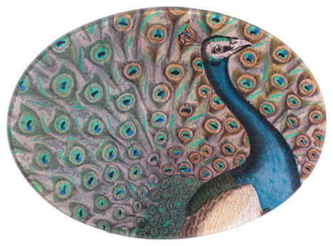 Peacock Flourish Plate eclectic serveware