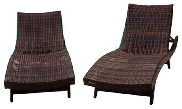Wicker Multi-brown Outdoor Adjustable Lounges and Nesting Tables modern-outdoor-chaise-lounges