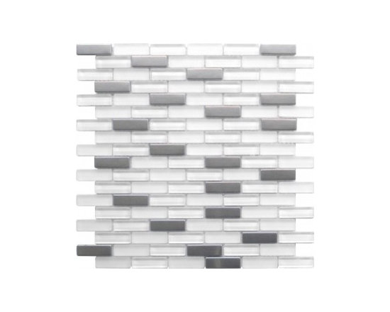 Lada Glass and Stainless steel mosaic - Blend of glass tile and stained steel mesh mosaic tile by LADA