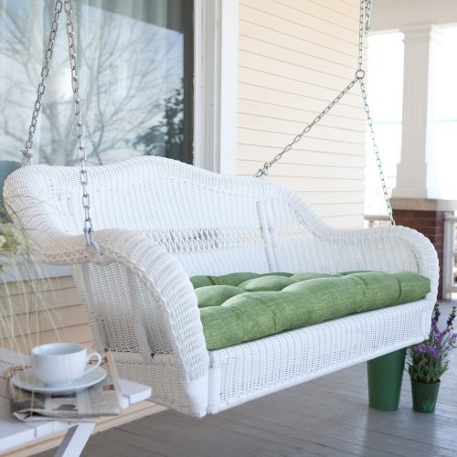 Coral Coast Casco Bay Resin Wicker Porch Swing with Optional Cushion Garrison Sp contemporary-outdoor-swingsets