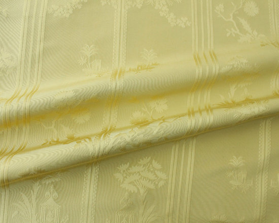 Pagoda Fabric in Citrine - Pagoda Fabric in Citrine is a 100% Silk French fabric. The beautiful yellow-green color is complemented with an intricate stripe, floral, and pagoda pattern. This discount designer silk fabric perfect for drapery and residential, light contract, or decorative upholstery and can be used for chairs, sofas, ottomans, decorative accents & drapery.