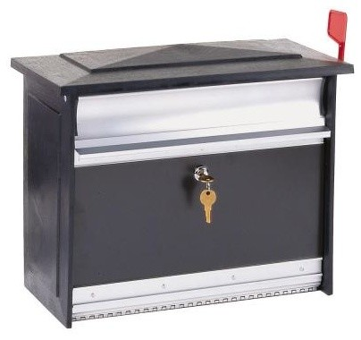 Gibraltar Mailboxes Mailbox. Mailsafe Locking Wall Mount Mailbox in Black MSK000 contemporary-mailboxes