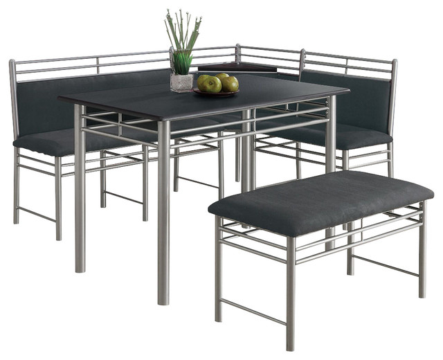 piece corner dining room set in black and silver traditional dining