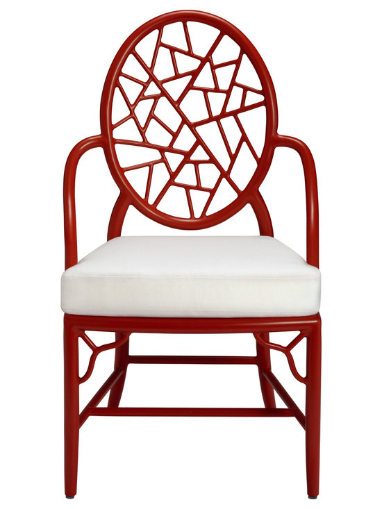 Cracked Ice(TM) Garden Chair: GA-90 - Designed by Elinor McGuire in 1968, the Cracked Ice™ Chair is a McGuire icon. This design is famous for its distinct back, an oval that frames a series of smaller lengths to create the illusion of cracked ice. This simple yet inspired pattern is paired with elegant curved armrests, straight legs and a delicate corner detail, executed in tubular aluminum. Comes standard in Bronze or Seashell White finishes, as well as Cayenne - inspired by the warm hues of San Francisco's Golden Gate.