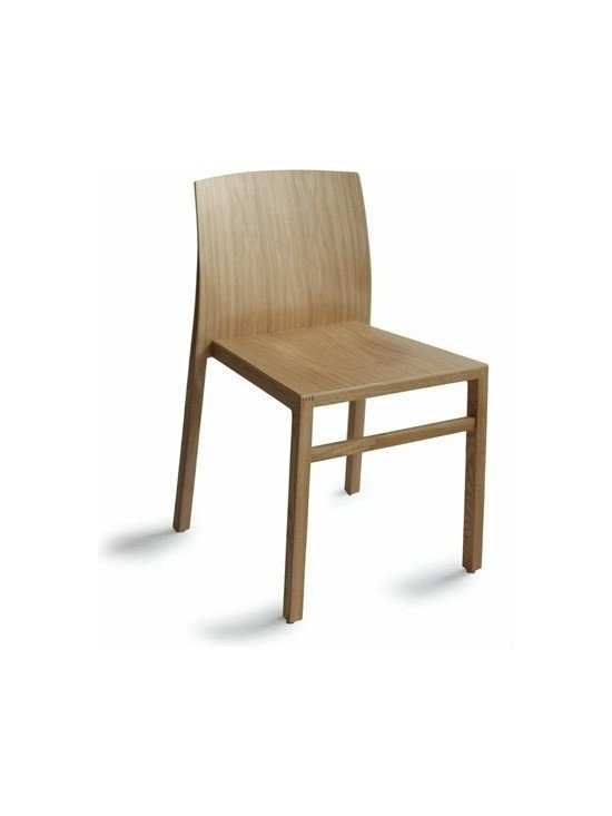 Osidea - Osidea | Hanna Chair - Design by Antonio Basile.The Hanna Chair conveys a casual, yet elegant feel. The slight curves of the molded plywood back and seat of the chair offer support at just the right spots. The solid wood legs are formed into a slight angle which creates additional visual interest in the chair. Hanna Chair is stackable for easy storage. Available in a variety of wood finishes.