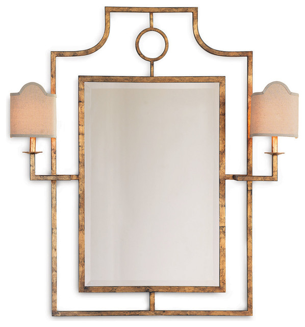Doheny Hollywood Regency Bamboo Gold Leaf Mirror With Sconces - Transitional - Mirrors - by ...