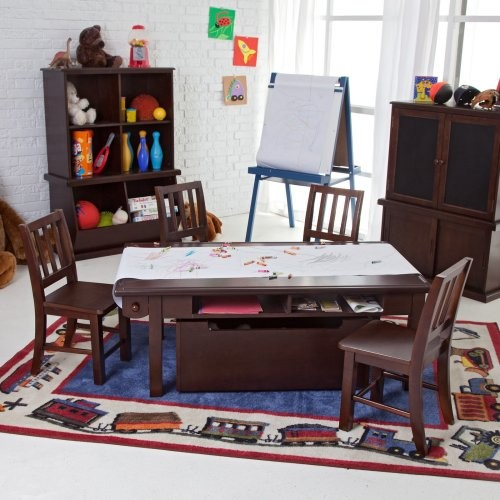 Classic Playtime Espresso Deluxe Activity Table with Free Paper Roll contemporary-kids-tables-and-chairs