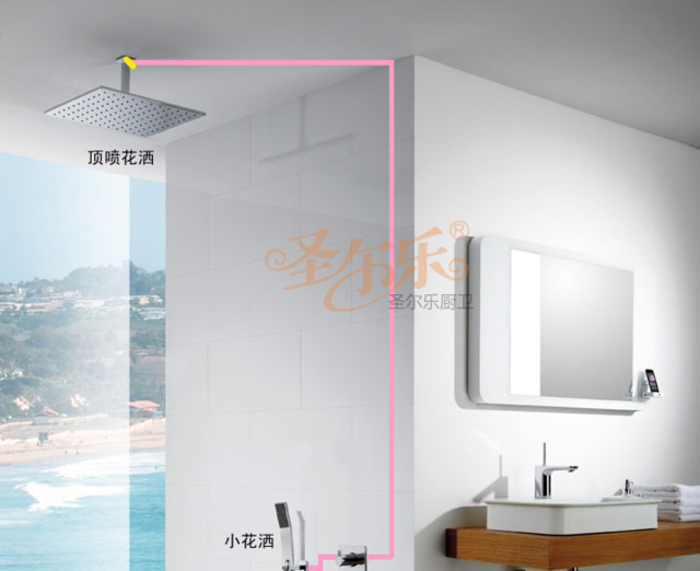 NEW**ceiling mount Super rainfall shower Faucet chrome finish 5863-40 modern-showerheads-and-body-sprays