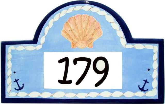 Seashells Address Plaques tropical-house-numbers