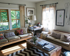 Michigan farmhouse eclectic living room