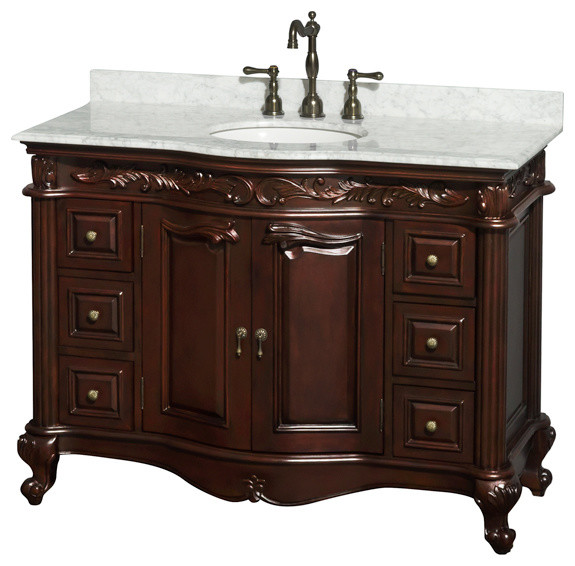 "Edinburgh 48"" Cherry Vanity, Carrera Marble Top, Undermount Round Sink ..."