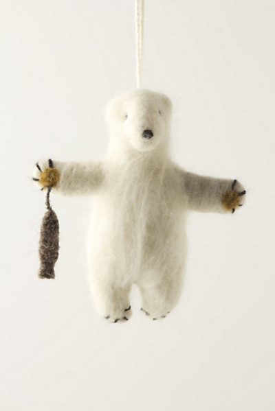 Felted Polar Bear Ornament contemporary-christmas-ornaments