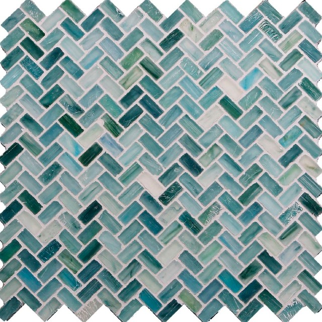 Seaside Herringbone Green Pool Frosted Glass contemporary-tile