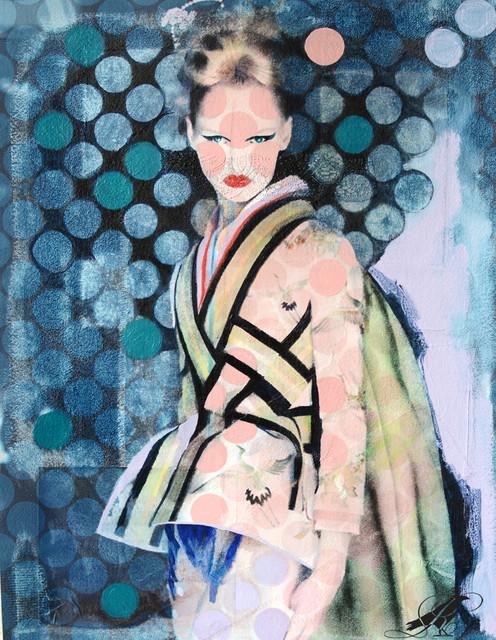 20X30 inch multimedia painting called : Pokadot Geisha contemporary-artwork