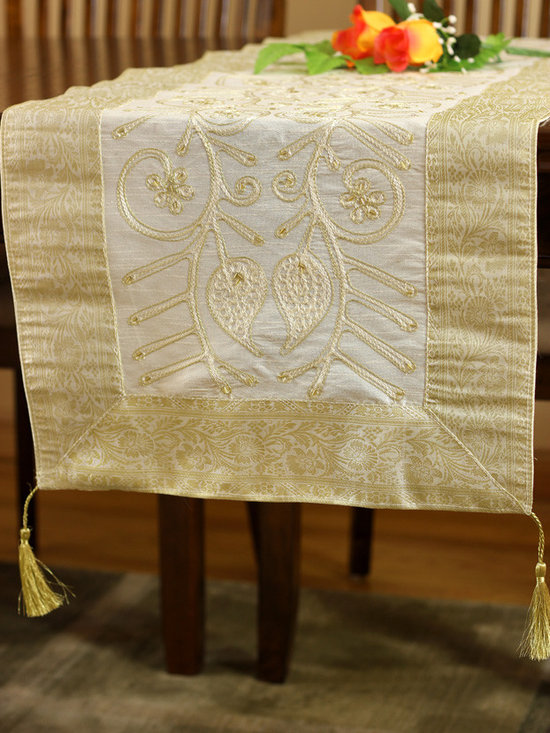 """Elegant Table Runners - Unique Beige - White """"Ornamental Embroidered"""" table runner. Hand crafted in India. Great complement to any table top. Get inspired with Banarsi Designs. Wedding Decor"""