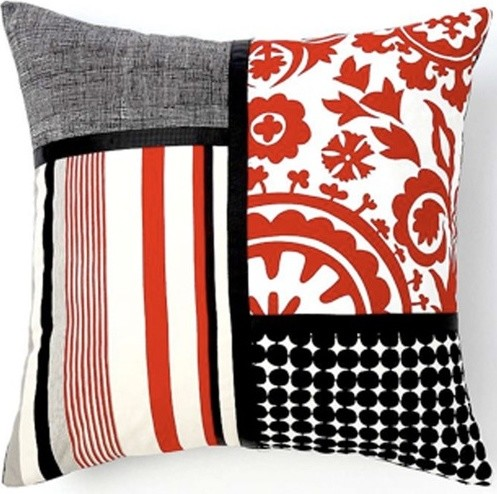 Siggi Combo Cotton Pillow in Red/White/Black modern-decorative-pillows