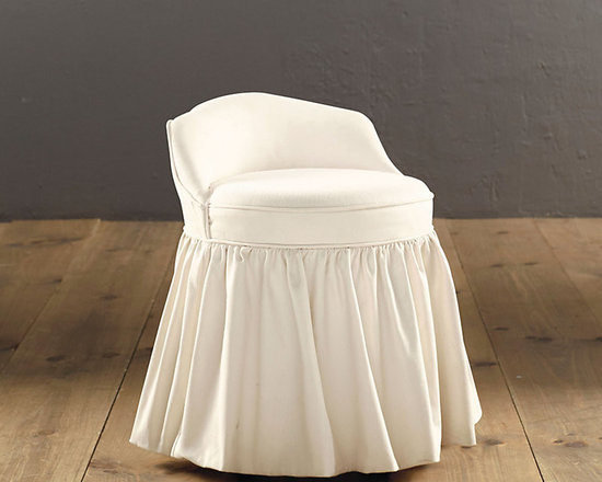 Ballard Designs - Upholstered Swivel Stool - Stylish seating for your vanity table or bathroom. Sturdily constructed, each four-legged wooden base has a swivel top and padded seat. Dress it up with one of our featured fabrics, or send us a material of your own. Spot clean. Made in the USA.